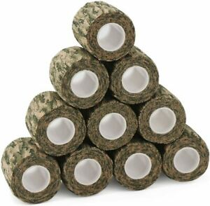 """10 Rolls 2"""" X 177"""" Camouflage Cohesive Tape Wrap Protective Form Stretch Bandage"""