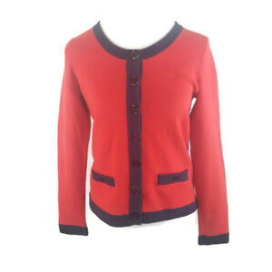 Banana Republic Womens Collarless Knit Blazer M Red Faux Pockets Large Buttons