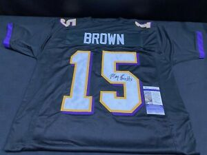 MARQUISE BROWN BALTIMORE RAVENS SIGNED BLACK CUSTOM JERSEY JSA COA SEE STAIN
