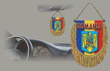 ROMANIA REAR VIEW MIRROR WORLD FLAG CAR BANNER PENNANT