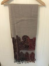100% Pashmina Large Scarf Shawl From KASHMIR Ladies, Beige, Beautiful Embroidery