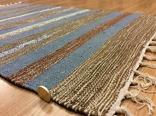 Striped Blue Choco colour Handwoven Dhurrie 100%Cotton RUG 60x90cm 2'x3' 50%OFF