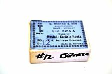Vintage New Full Box of appx 100 Mustad Carlisle Fishing Hooks 3214A #12 bronze