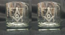 """Masonic  """"On the Rocks"""" 10 oz. glasses (Set of 2) Great glass for Table Lodges"""