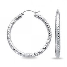 Solid 14k White Gold Round Dome Hoop Earrings Diamond Cut Polished Fancy Design