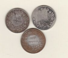 More details for three 1841/1843 & 1851 young head victoria silver sixpences in used condition