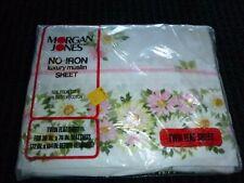 Nos Vtg Morgan Jones Twin Flat Sheet Pink Daisies Fancy Edge 50/50 muslin