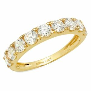 1.5ct Round Cut Stackable Bridal Wedding Petite Anniversary Band 14k Yellow Gold