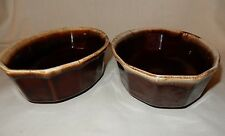 """Lot of 2 9"""" McCoy Oval Octagon Bowl Side Vegetable Serving Dish Brown Drip Ware"""