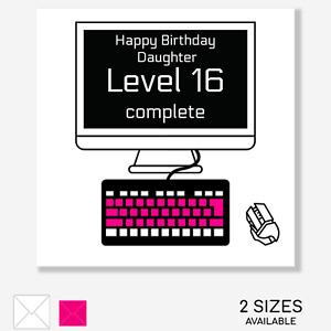 BIRTHDAY CARD Gamer Girl Computer PC Daughter Bestie Sister Mate Pink OPTIONS