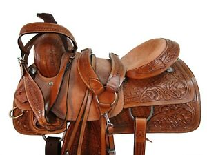 PRO WESTERN RANCH SADDLE ROPING HORSE PLEASURE TOOLED LEATHER TACK 18 17 16 15