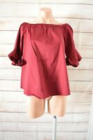 Portmans Off Shoulder Top Blouse Size 10 Red Maroon Bell Sleeve