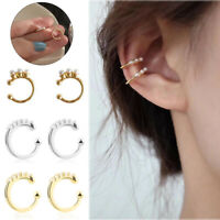2pcs CZ Non Pierced Ear Cuff Perle Knorpel Manschette Half Cricle Ohrclips