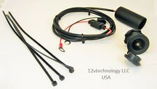 "Motorcycle 12V Waterproof Plug Socket Wire Harness 60"" w/boot Outlet Jack Fused."
