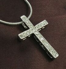 Women Cross Silver Tone Clear Crystal Rhinestone Designer Necklace Chain Pendant