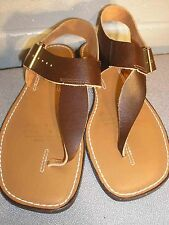 6 NOS VINTAGE 1960s 1970s FLATS TOE THONG Brown Leather SANDAL FLAT 60s 70s SHOE
