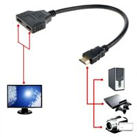 PKPOWER HDMI 1 Male To 2 Female Y Splitter Adapter HD 1080P 3D For Monitor DVD