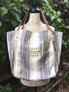 RACHEL by RACHEL ROY ELEGANT CREAM SNAKE PRINT VEGAN TOTE BAG GOLD STUDS LARGE