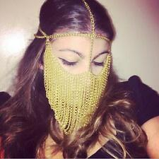 Women Gold Chains Sexy Layers Face Head Chains Unique Design Mask Chains Jewelry