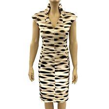 Akris Brown Tan Front Seam Cotton Cap Sleeve Sheath Dress Size 8
