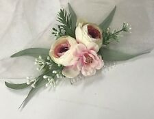 SILK WEDDING FLOWERS LIGHT PINK RUSTIC HAIR COMB FLOWER ROSES ARTIFICIAL FAKE
