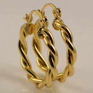 High Quality Yellow Gold Filled 25mm Twist Hoop Earrings New UK Gift Idea