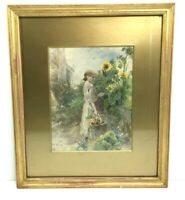 Antique Print of a Young Girl Picking Flowers Framed Mounted Glazed