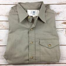 Polo Ralph Lauren button front shirt size Medium Grey cream long sleeve pocket