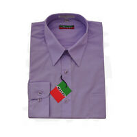 New men's shirt dress formal long sleeve prom party wedding pointed collar Lilac
