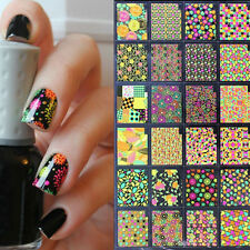 24pcs/lot 3D Nail Stickers Colorful Leaf Star Heart Theme Manicure Decoration