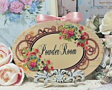 """~ Shabby Chic ~ French Country Cottage style - Wall Decor Sign ~ """"Powder Room"""" ~"""