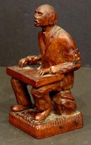 Vintage ESTONIA WW2 SOLDIER with BLIND ARMBAND Carved Wood FOLK ART SCULPTURE