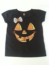 Girls Simple Halloween Pumpkin Patch Face Black Toddler Shirt 3T Jack O Lantern
