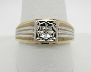 Men's 10K Yellow And White Gold Natural Genuine Diamond Ring~Size 12~3.5 Grams
