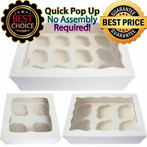 White Cupcake Boxes with Window with WAVES Premium 4 6 12 Quality WIndow