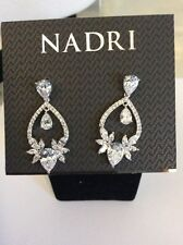 Nadri Earrings Clear Crystal Silvertone Drop Dangle Post $90 #105 (2)