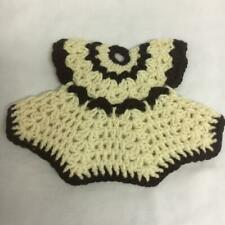 Handmade Thick Potholder Crocheted Dress Brown & Cream Color 7 x 10 Inches