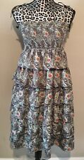 LIBERTY OF LONDON Womens Peacock Feather Tiered Dress Size XSMALL