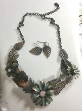 "Brass Tone  Feather FLOWER NECKLACE And Earrings Statement 18"" You & I"