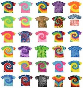 Tie Dye T-Shirts, Adult S M L XL 2XL 3XL, Multi-Color 100% Cotton
