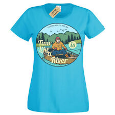 Time Is Like a Río Camiseta Barco Lake Natural Viaje Aire Libre Mujer