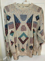 Vintage London Fog Hip-Hop/Coogi Style Mens Sweater, Sz XL Tall, Cosby/Geometric
