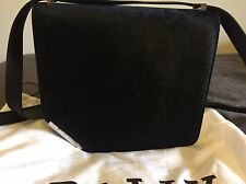 BALLY BLACK COWHIDE LEATHER CORNER BAG