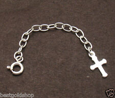 "2"" 3mm Solid Oval Extender with Cross 4 Chain Necklace 925 Sterling Silver"