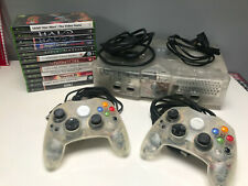 VINTAGE Microsoft Xbox Crystal Limited Edition WITH GAMES & 2 CONTROLLERS