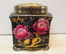 ANTIQUE MASON'S FOOTED PINK FLOWER FROG VASE BLACK & GOLD HAND PAINTED WARE ENG