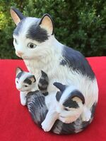 Home Interior Cats MAMA KITTY & HER Playful Kittens Porcelain Figurine Statue @