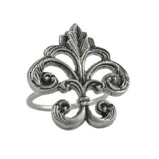 Napkin Ring - Fleur de Lis - Ornate Metal, Brass with Antique Pewter Finish