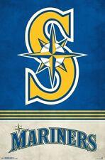 SEATTLE MARINERS - RETRO LOGO POSTER - 22 x 34 MLB BASEBALL 16515