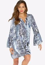 Roamans Plus Size 22W Multi Blue Faux Snake Shift Mini Dress Tie & Tassels RDBST